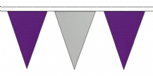 PURPLE AND GREY TRIANGULAR BUNTING - 10m / 20m / 50m LENGTHS